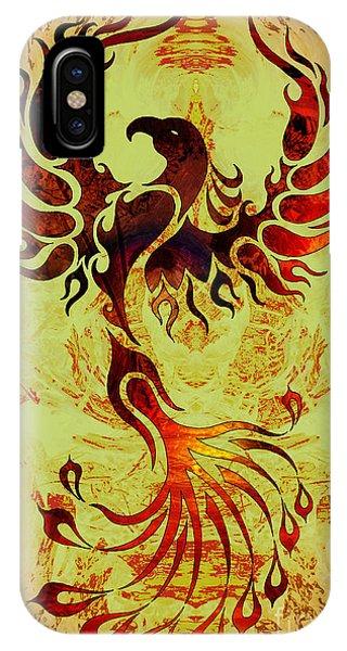 Fire Ball iPhone Case - Powerful Phoenix by Robert Ball