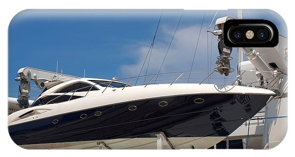 Powerboat iPhone Case - Powerful Yacht Carried By Larger Ship by Yali Shi