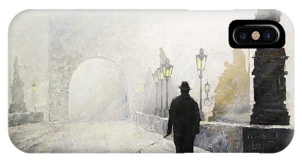 Morning iPhone Case - Prague Charles Bridge Morning Walk 01 by Yuriy Shevchuk