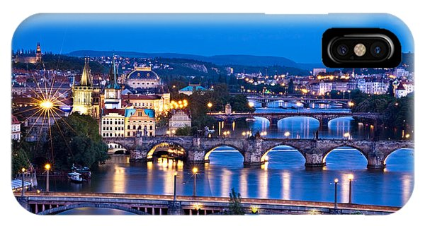 IPhone Case featuring the photograph Prague Cityscape At Night by Barry O Carroll