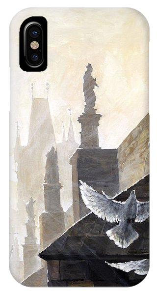 Dove iPhone Case - Prague Morning On The Charles Bridge  by Yuriy Shevchuk
