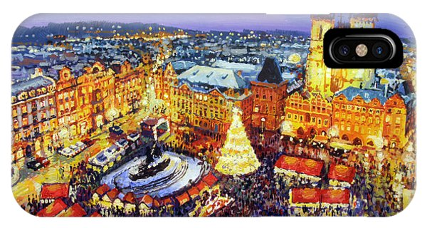 Expressionism iPhone Case - Prague Old Town Square Christmas Market 2014 by Yuriy Shevchuk