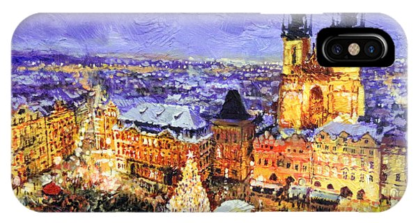 Christmas Tree iPhone Case - Prague Old Town Square Christmas Market by Yuriy Shevchuk
