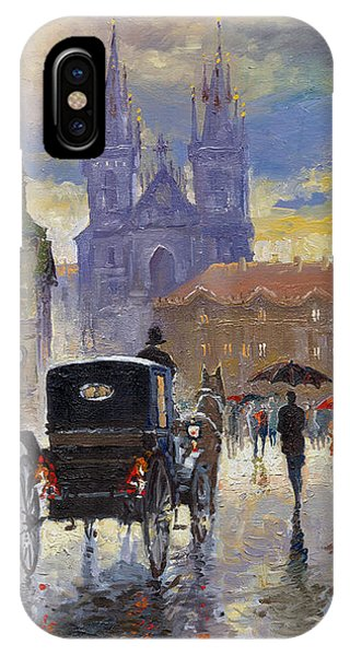 Cab iPhone Case - Prague Old Town Square Old Cab by Yuriy Shevchuk