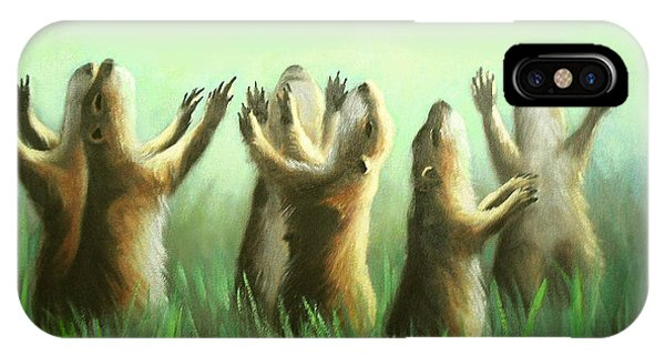 IPhone Case featuring the painting Praising Prairie Dogs by Anthony Falbo