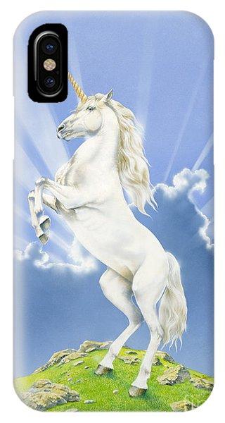 Unicorn iPhone Case - Prancing Unicorn by Irvine Peacock