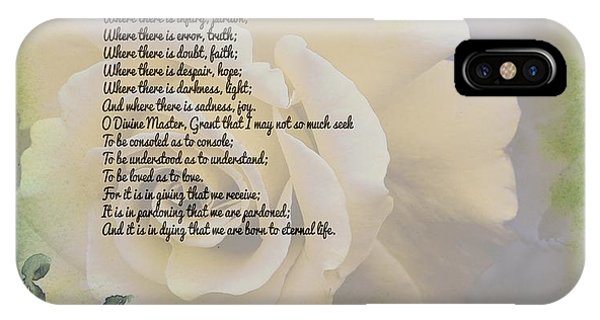 Prayer Of St. Francis And Yellow Rose IPhone Case