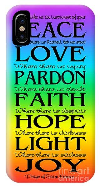 Prayer Of St Francis - Subway Style - Rainbow IPhone Case