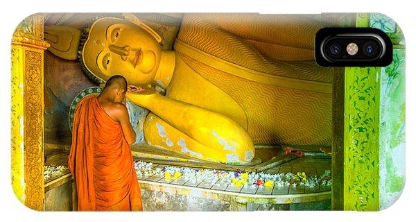 praying buddhist monk by a lying buddha in Sri Lanka Phone Case by Gina Koch