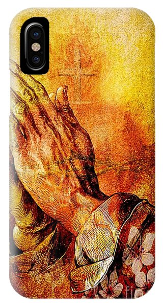 Praying Hands With Sacred Heart IPhone Case
