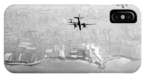 Battery D iPhone Case - Pre-d-day Landings Bombings by Us Air Force