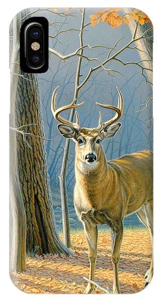 Fall Scenes iPhone Case - Pre-flight- Whitetail Buck by Paul Krapf