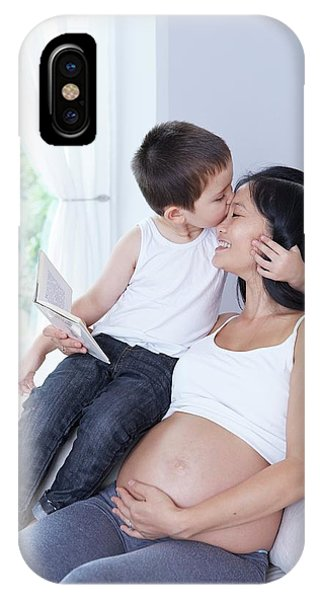 Pregnant Woman With Son Kissing Forehead Phone Case by Ruth Jenkinson