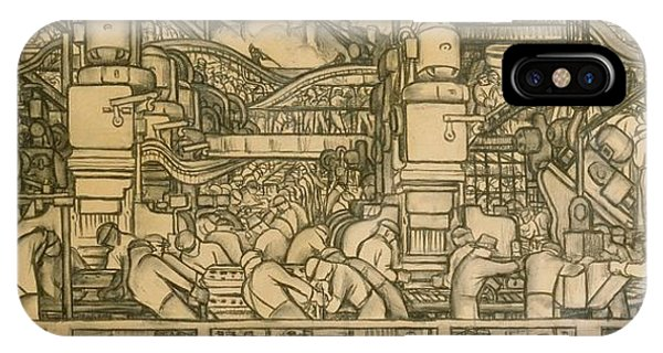 Pastel Pencil iPhone Case - Presentation Drawing Of The Automotive Panel For The North Wall Of The Detroit Industry Mural by Diego Rivera