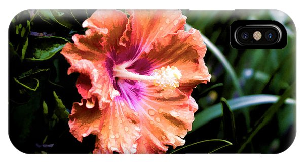 IPhone Case featuring the digital art Pretty Orange Hibiscus by Photographic Art by Russel Ray Photos