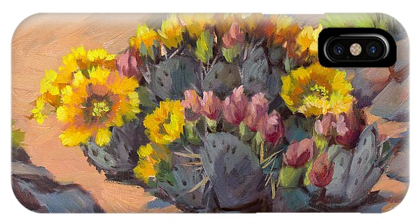 Prickly Pear Cactus In Bloom IPhone Case
