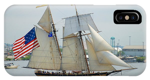Pride Of Baltimore II Passing By Fort Mchenry IPhone Case