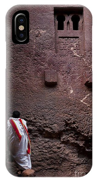 Priest Praying Outside Church In Lalibela Ethiopia IPhone Case