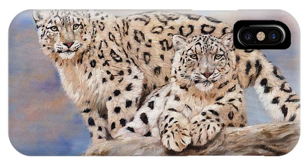 Snow Leopard iPhone Case - Princes Of The Peaks by David Stribbling