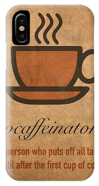 Office iPhone Case - Procaffeinator Caffeine Procrastinator Humor Play On Words Motivational Poster by Design Turnpike