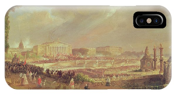Concorde iPhone Case - Proclamation Of The Second French Republic, Place De La Concorde, February 24, 1848 Oil On Canvas by Jean-Jacques Champin