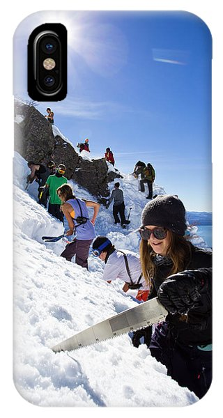Knit Hat iPhone Case - Professional Skier Using A Snow Saw by Ben Girardi
