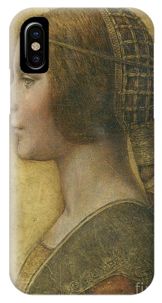 Portraits iPhone X Case - Profile Of A Young Fiancee by Leonardo Da Vinci