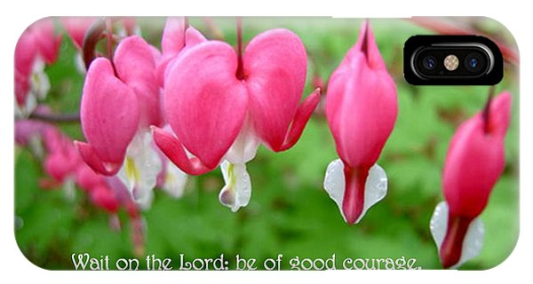 Psalms 27 14 Bleeding Hearts IPhone Case
