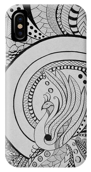 Zentangle Peacock Art Drawing IPhone Case