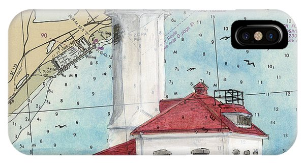 Port Townsend iPhone Case - Pt Wilson Lighthouse Wa Cathy Peek Nautical Chart Map Art by Cathy Peek