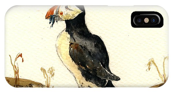 Bird Watercolor iPhone Case - Puffin With Fishes by Juan  Bosco