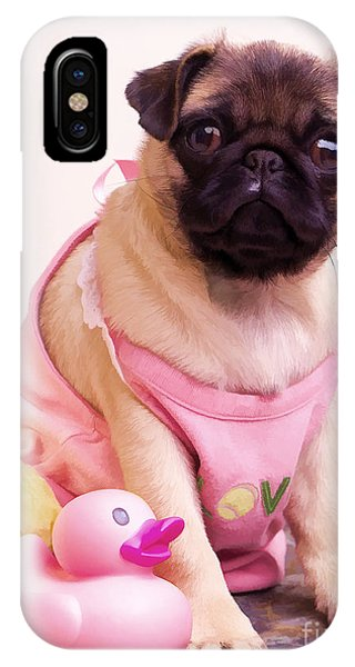 Pug iPhone X Case - Pug Puppy Bath Time by Edward Fielding