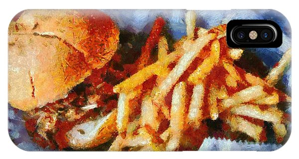 Barbeque iPhone Case - Pulled Pork Sandwich And French Fries by Dan Sproul