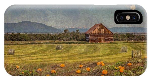 Pumpkin Field Moon Shack IPhone Case
