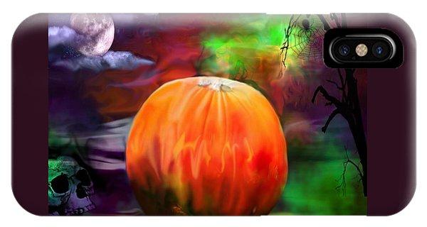 Pumpkin Skull Spider And Moon Halloween Art IPhone Case