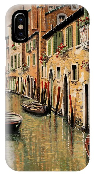Docked Boats iPhone Case - Punte Rosse A Venezia by Guido Borelli