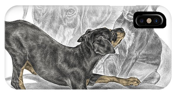 Puppy Love - Doberman Pinscher Pup - Color Tinted IPhone Case