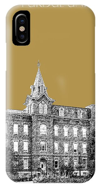 Purdue Boilermakers iPhone Case - Purdue University - University Hall - Brass by DB Artist