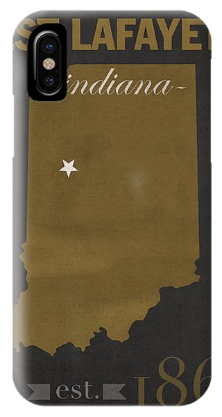 Purdue Boilermakers iPhone Case - Purdue University Boilermakers West Lafayette Indiana College Town State Map Poster Series No 090 by Design Turnpike