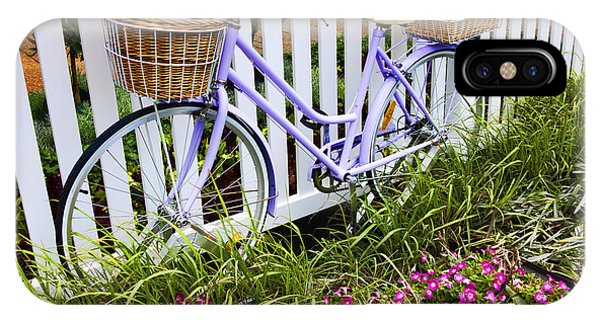 Bicycle iPhone X Case - Purple Bicycle And Flowers by David Smith