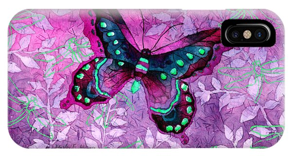 Blue Violet iPhone Case - Purple Butterfly by Hailey E Herrera