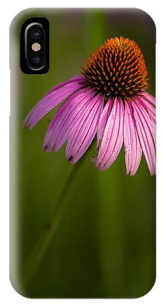 Purple Cone Flower Portrait IPhone Case