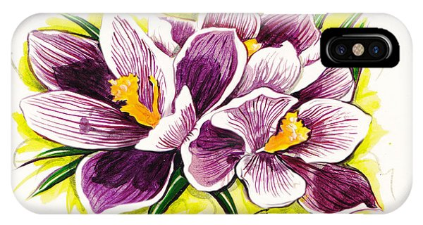 Purple Crocus Watercolor Phone Case by GG Burns