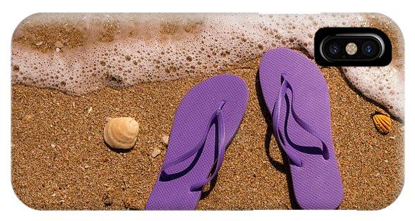 7879bdcd11fe The Flop iPhone Case - Purple Flip Flops On The Beach by Teri Virbickis