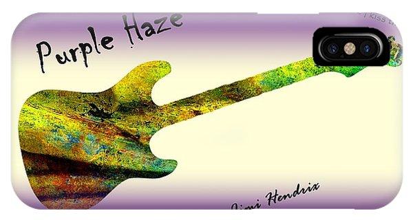 Voodoo iPhone Case - Purple Haze Scuse Me While I Kiss The Sky Hendrix by David Dehner
