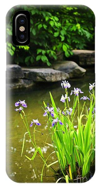 Aquatic Plants iPhone Case - Purple Irises In Pond by Elena Elisseeva
