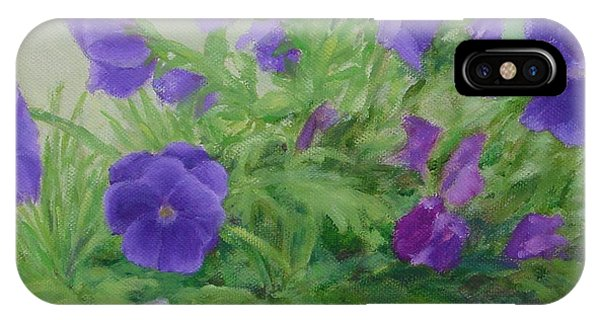 Purple Pansies Colorful Original Oil Painting Flower Garden Art  IPhone Case