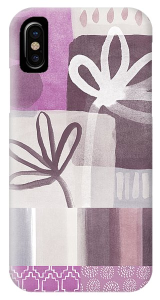 Orchid iPhone X Case - Purple Patchwork- Contemporary Art by Linda Woods
