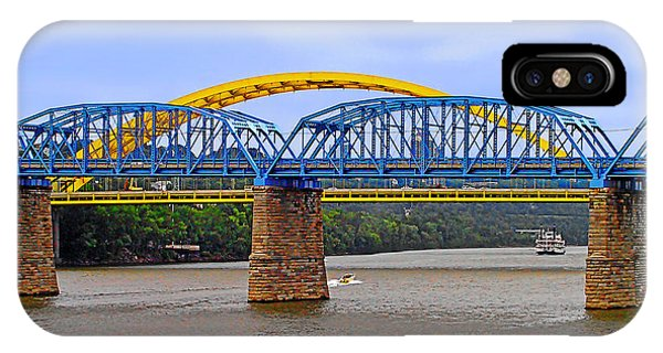 Purple People Bridge And Big Mac Bridge - Ohio River Cincinnati IPhone Case