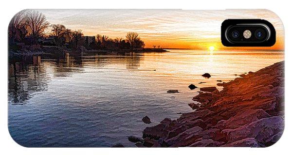 Treeline iPhone Case - Purple Rocks Sunrise - Lake Ontario Impressions by Georgia Mizuleva